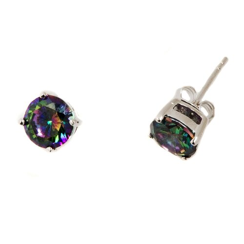 DK Sterling Mystic Topaz Round Cut Earrings