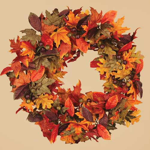 Oddity Inc. Fall Maple and Magnolia Leaves Wreath