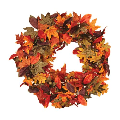 Fall Maple and Magnolia Leaves Wreath