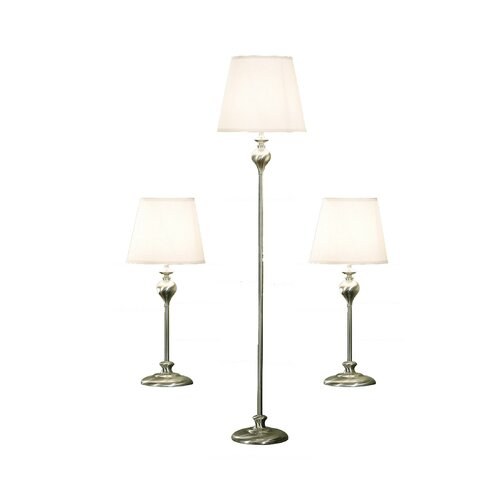 OK Lighting 3 Piece Lamp Set with Empire Shade