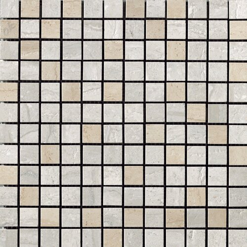 Samson Tile Travertini Polished Mosaic Floor and Wall Tile in Grigio/Cream