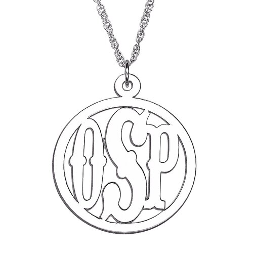 Remy and Rose Sterling Silver Initial Circle Monogram Pendant
