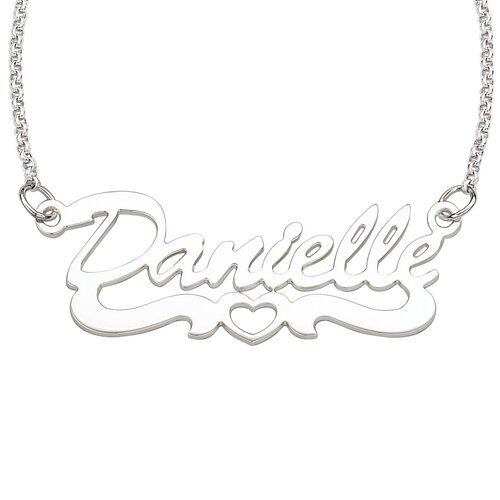 Remy and Rose Sterling Silver Open Heart Script Necklace