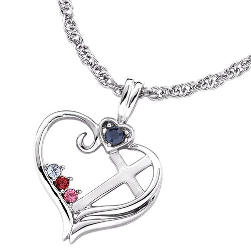 Remy and Rose Sterling Silver Birthstone Heart Cross Necklace - 3 stone