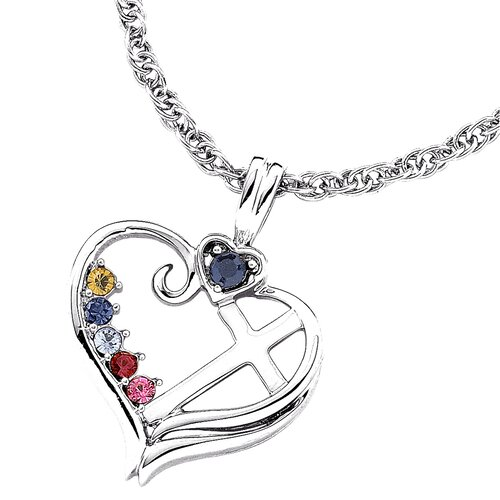Remy and Rose Sterling Silver Birthstone Heart Cross Necklace - 5 stone
