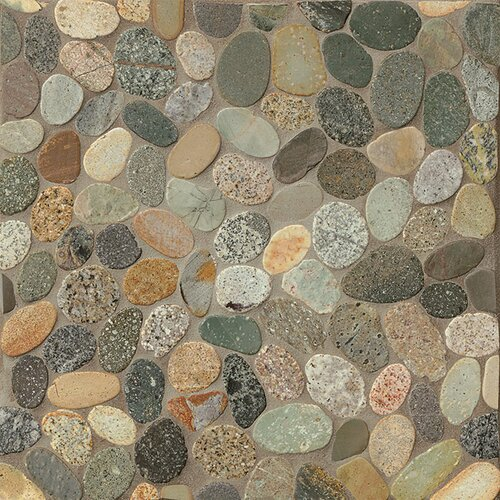 Sliced pebble stone glazed mosaic tile in riverbed amp reviews wayfair