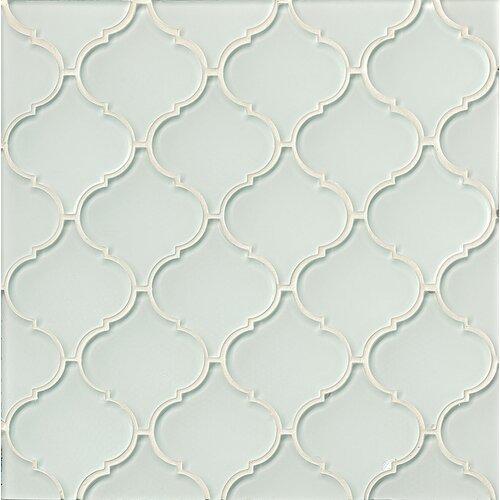 Mallorca Arabesque Gloss Glass Mosaic Tile In White Linen