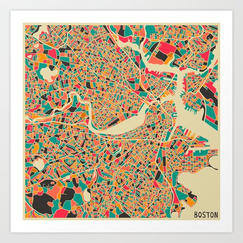 'Retro City Map Boston' by Jazzberry Blue Graphic Art on Canvas