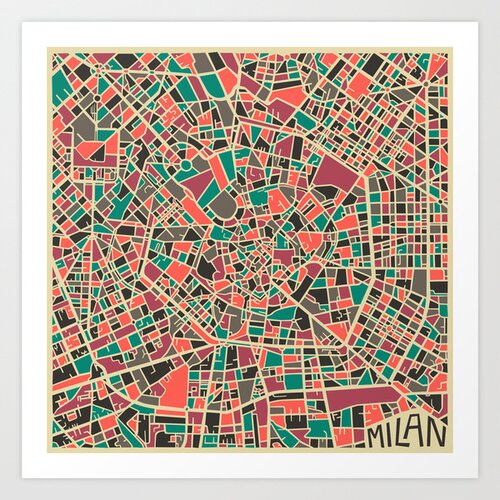 'Retro City Map Milan' by Jazzberry Blue Graphic Art on Canvas