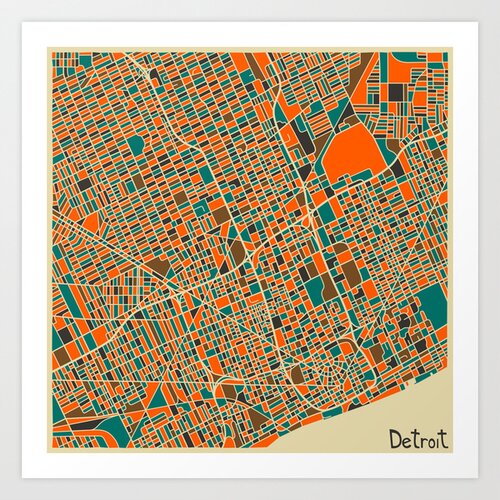 'Retro City Map Detroit' by Jazzberry Blue Graphic Art on Canvas