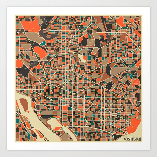 'Retro City Map Washington DC' by Jazzberry Blue Graphic Art on Canvas