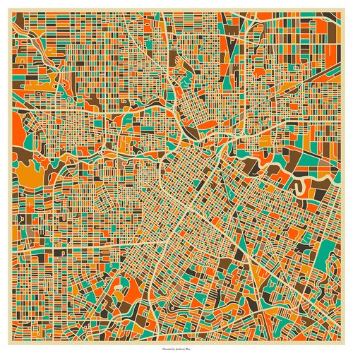 'Retro City Map Houston' by Jazzberry Blue Graphic Art on Canvas