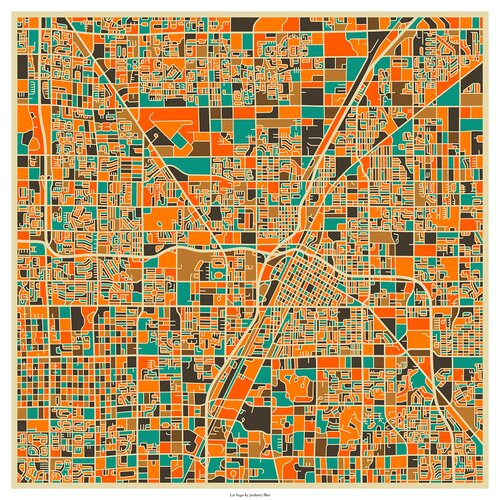 'Retro City Map Las Vegas' by Jazzberry Blue Graphic Art on Canvas