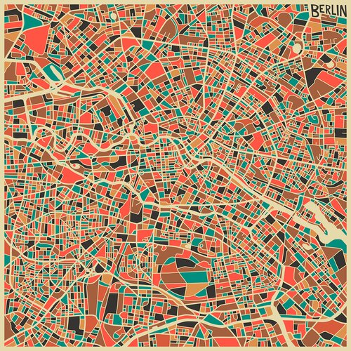 'Retro City Map Berlin' by Jazzberry Blue Graphic Art on Canvas