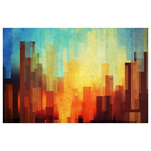 Urban Sunset Painting Print on Canvas