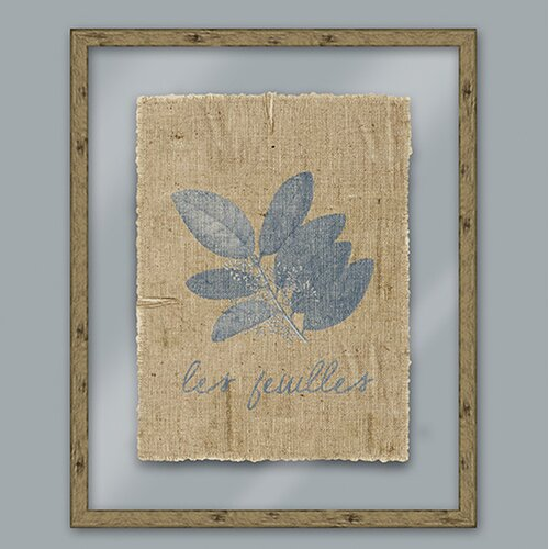 Blue Les Feuilles Framed Graphic Art