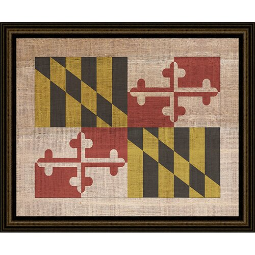 Epic Art MD State Flag on Antique Burlap Framed Graphic Art