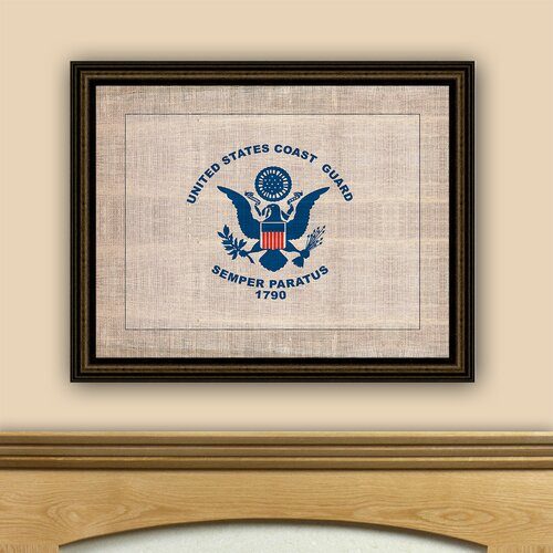 The Vintage Patriot Coast Guard Flag Framed Graphic Art