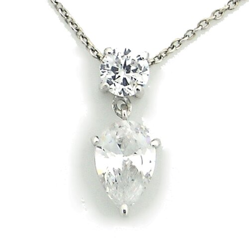 Splendor Jewelry Sterling Silver Round and Pear Cubic Zirconia Necklace