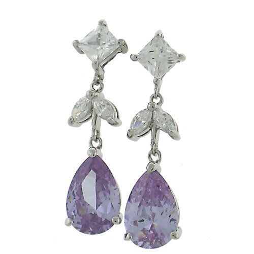 Cubic Zirconia Lavender Drop Earrings
