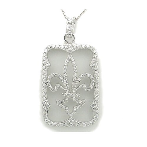 Sterling Silver Fleur de Lis Dog Tag Silhouette Necklace