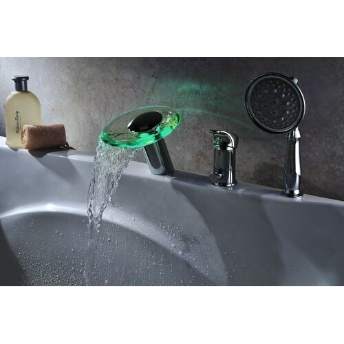 group single handle deck mount tub faucet set with handheld sprayer
