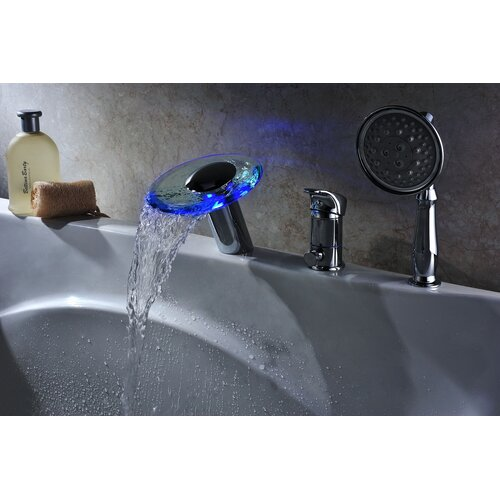Single Handle Deck Mount Tub Faucet Set With Handheld