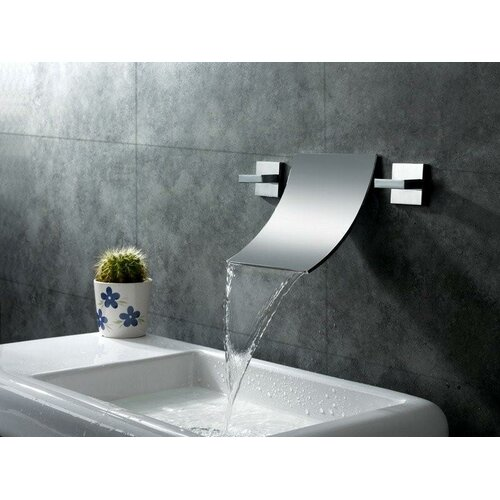 Double Wall Mount Sink : Sumerain Double Handle Wall Mount Waterfall Bathroom Sink Faucet ...