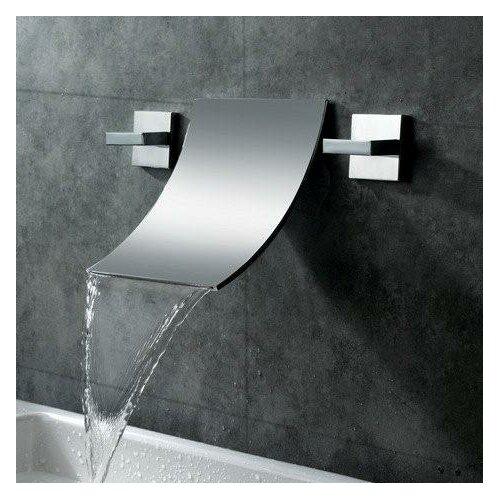 Double Handle Wall Mount Waterfall Bathroom Sink Faucet