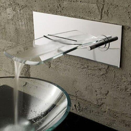 Single Handle Wall Mount Waterfall Bathroom Sink Faucet