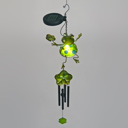 Frog Holding Flower Wind Chime with Solar Powered LED
