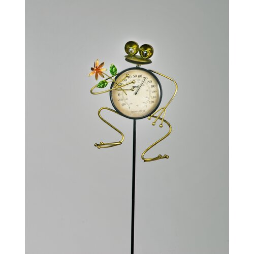 Frog with Flower Temperature Gauge Garden Stake