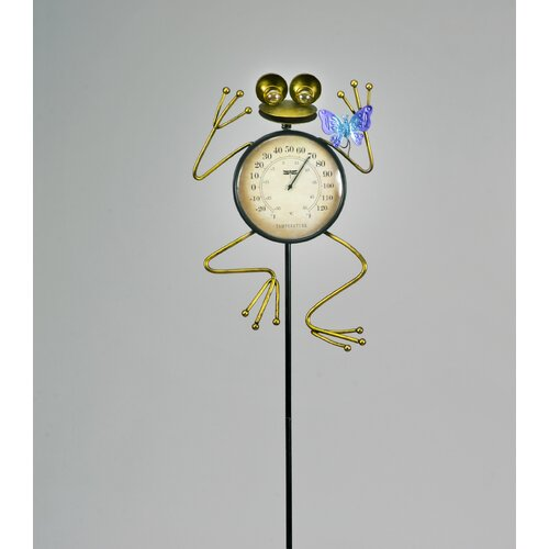 Frog with Butterfly Temperature Gauge Garden Stake