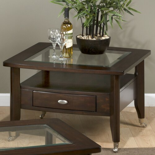 Montego Contemporary Merlot Wood Square End Table W Drawer