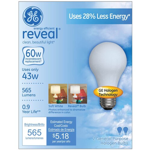 GE Lighting 43W Halogen Light Bulb