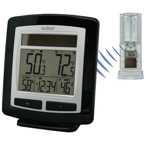 Solar Powered Temperature Station Wall Clock