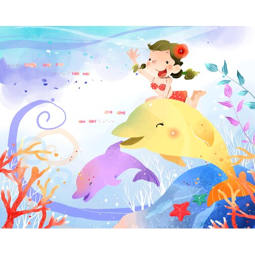 Girl Riding a Dolphin Fish in the Sea Graphic Art on Canvas