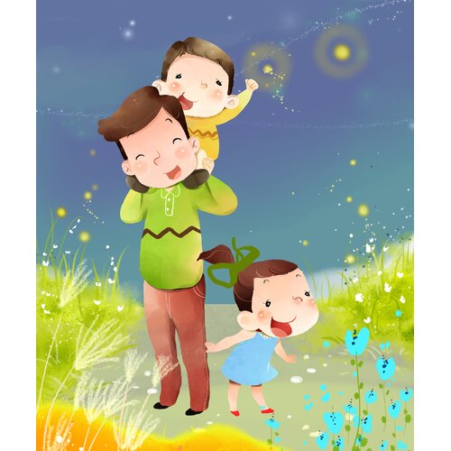 Mommy and Kids Graphic Art on Canvas in Nature