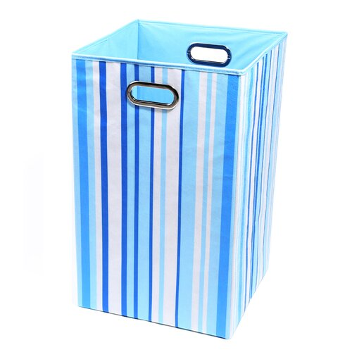 Modern Littles Sky Stripes Canvas Folding Laundry Basket