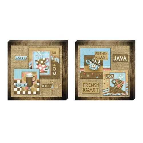 Retro Coffee Collage 2 Piece Graphic Art on Canvas Set