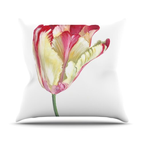 Red Tip Tulip Throw Pillow