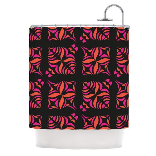 Orange on Black Tile Polyester Shower Curtain