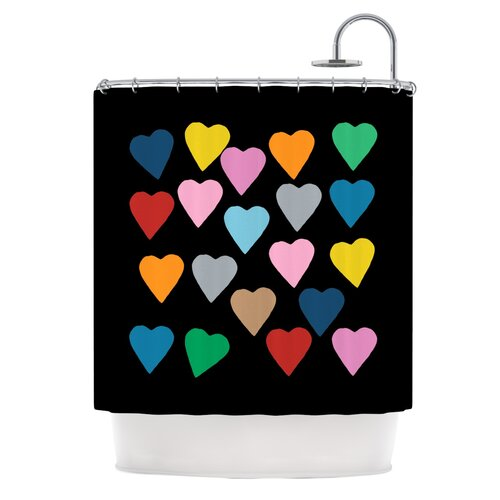 Hearts Colour On Black Polyester Shower Curtain