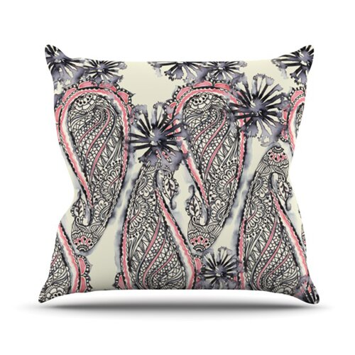 Inky Paisley Bloom Throw Pillow