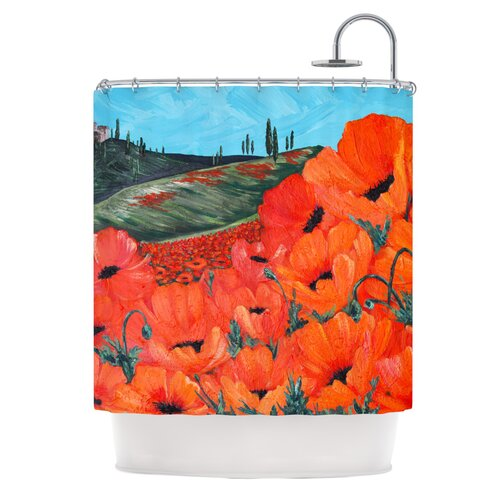 Poppies Polyester Shower Curtain