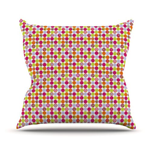 Happy Circles Throw Pillow