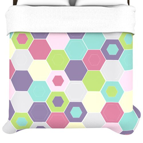 KESS InHouse Pale Bee Hex Duvet Cover