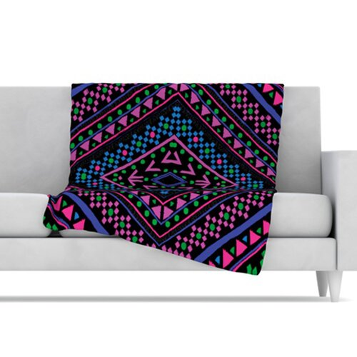 KESS InHouse Neon Pattern Fleece Throw Blanket