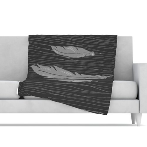 KESS InHouse Feathers Microfiber Fleece Throw Blanket