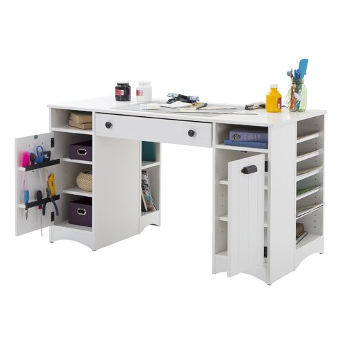 South shore artwork craft writing desk with storage reviews wayfair - Craft desk with storage ...